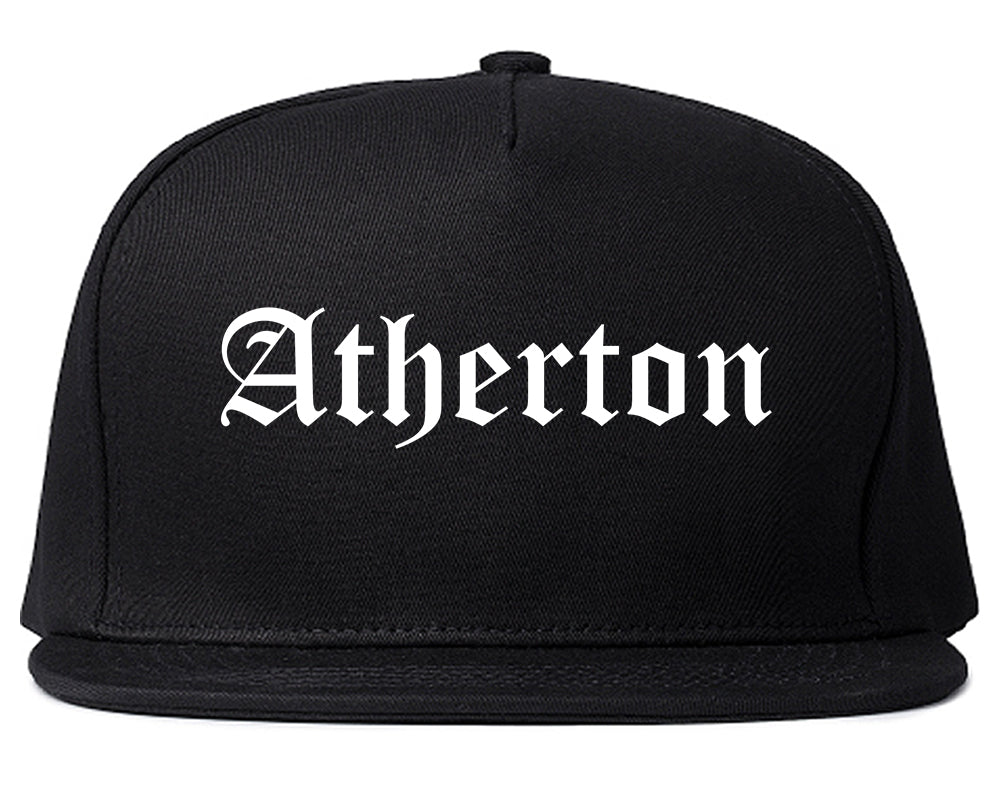 Atherton California CA Old English Mens Snapback Hat Black