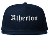 Atherton California CA Old English Mens Snapback Hat Navy Blue