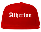 Atherton California CA Old English Mens Snapback Hat Red