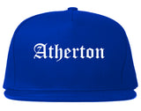 Atherton California CA Old English Mens Snapback Hat Royal Blue