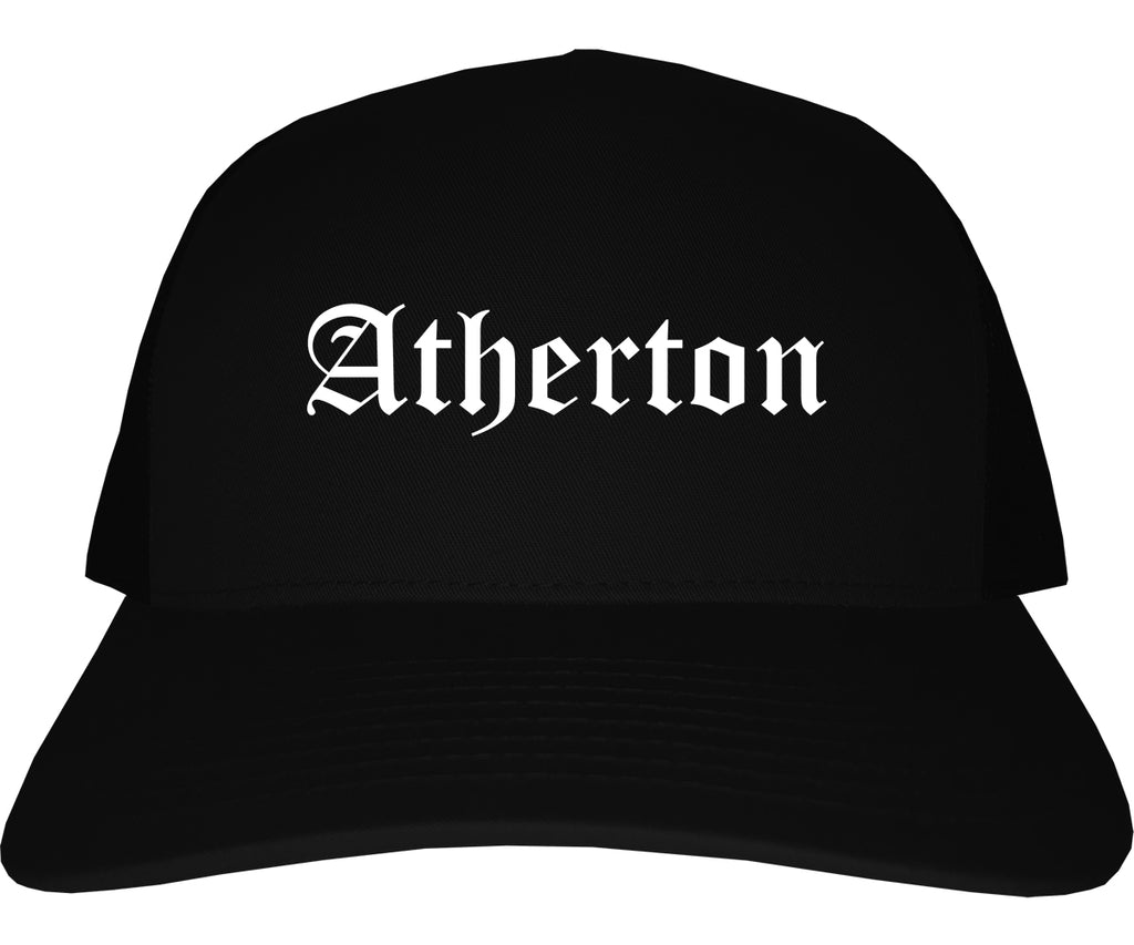 Atherton California CA Old English Mens Trucker Hat Cap Black