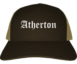 Atherton California CA Old English Mens Trucker Hat Cap Brown