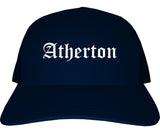 Atherton California CA Old English Mens Trucker Hat Cap Navy Blue