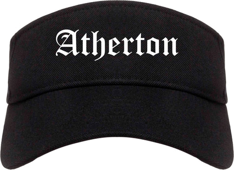 Atherton California CA Old English Mens Visor Cap Hat Black