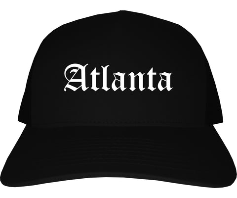 Atlanta Texas TX Old English Mens Trucker Hat Cap Black