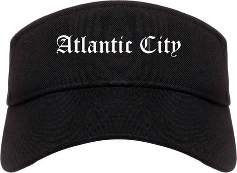 Atlantic City New Jersey NJ Old English Mens Visor Cap Hat Black
