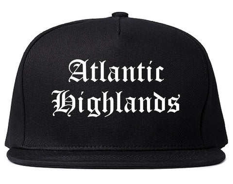 Atlantic Highlands New Jersey NJ Old English Mens Snapback Hat Black