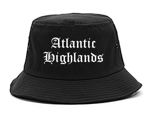 Atlantic Highlands New Jersey NJ Old English Mens Bucket Hat Black