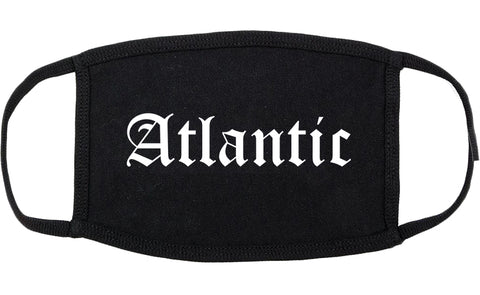 Atlantic Iowa IA Old English Cotton Face Mask Black