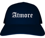 Atmore Alabama AL Old English Mens Trucker Hat Cap Navy Blue