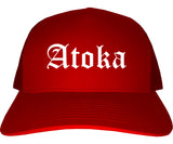 Atoka Tennessee TN Old English Mens Trucker Hat Cap Red
