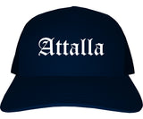 Attalla Alabama AL Old English Mens Trucker Hat Cap Navy Blue