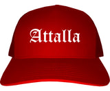 Attalla Alabama AL Old English Mens Trucker Hat Cap Red