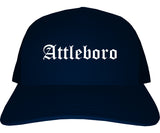 Attleboro Massachusetts MA Old English Mens Trucker Hat Cap Navy Blue