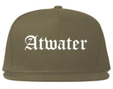Atwater California CA Old English Mens Snapback Hat Grey