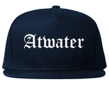 Atwater California CA Old English Mens Snapback Hat Navy Blue