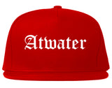 Atwater California CA Old English Mens Snapback Hat Red