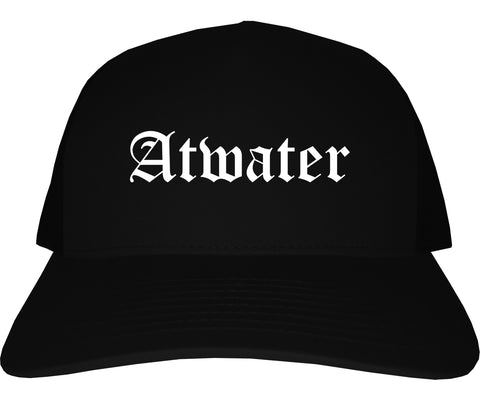 Atwater California CA Old English Mens Trucker Hat Cap Black