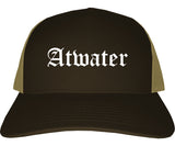 Atwater California CA Old English Mens Trucker Hat Cap Brown