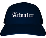 Atwater California CA Old English Mens Trucker Hat Cap Navy Blue