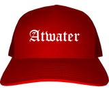 Atwater California CA Old English Mens Trucker Hat Cap Red