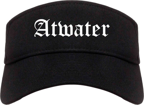 Atwater California CA Old English Mens Visor Cap Hat Black