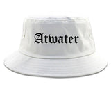 Atwater California CA Old English Mens Bucket Hat White