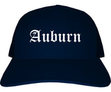 Auburn Georgia GA Old English Mens Trucker Hat Cap Navy Blue