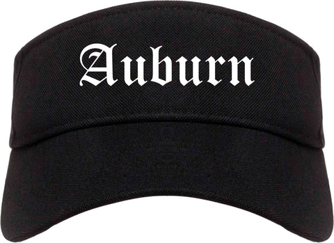 Auburn Georgia GA Old English Mens Visor Cap Hat Black
