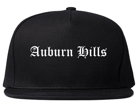 Auburn Hills Michigan MI Old English Mens Snapback Hat Black