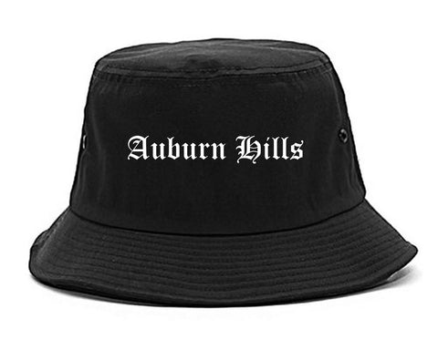 Auburn Hills Michigan MI Old English Mens Bucket Hat Black