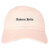 Auburn Hills Michigan MI Old English Mens Dad Hat Baseball Cap Pink