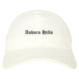 Auburn Hills Michigan MI Old English Mens Dad Hat Baseball Cap White