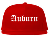 Auburn Indiana IN Old English Mens Snapback Hat Red