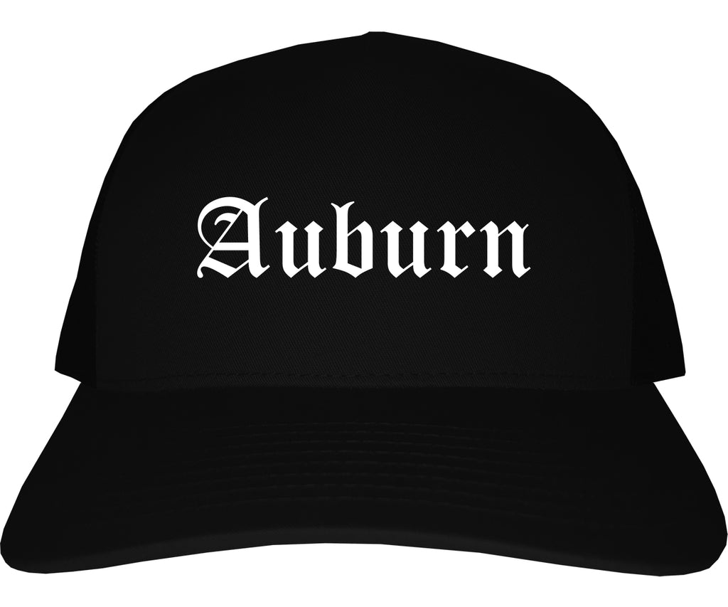 Auburn Indiana IN Old English Mens Trucker Hat Cap Black