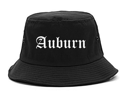 Auburn Maine ME Old English Mens Bucket Hat Black