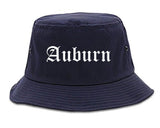 Auburn Maine ME Old English Mens Bucket Hat Navy Blue