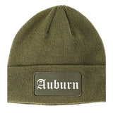 Auburn Maine ME Old English Mens Knit Beanie Hat Cap Olive Green