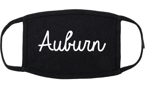 Auburn Maine ME Script Cotton Face Mask Black