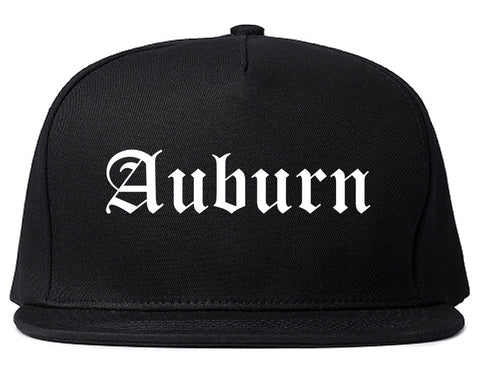 Auburn New York NY Old English Mens Snapback Hat Black