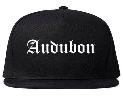 Audubon New Jersey NJ Old English Mens Snapback Hat Black