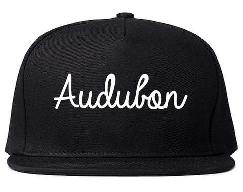Audubon New Jersey NJ Script Mens Snapback Hat Black