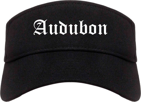 Audubon New Jersey NJ Old English Mens Visor Cap Hat Black
