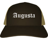 Augusta Kansas KS Old English Mens Trucker Hat Cap Brown