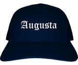 Augusta Kansas KS Old English Mens Trucker Hat Cap Navy Blue