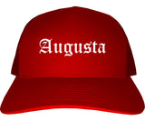 Augusta Kansas KS Old English Mens Trucker Hat Cap Red