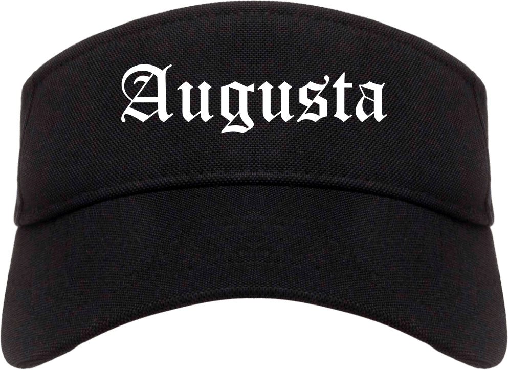 Augusta Kansas KS Old English Mens Visor Cap Hat Black
