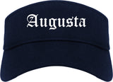 Augusta Kansas KS Old English Mens Visor Cap Hat Navy Blue