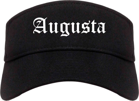 Augusta Maine ME Old English Mens Visor Cap Hat Black