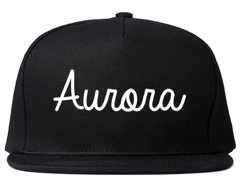 Aurora Colorado CO Script Mens Snapback Hat Black